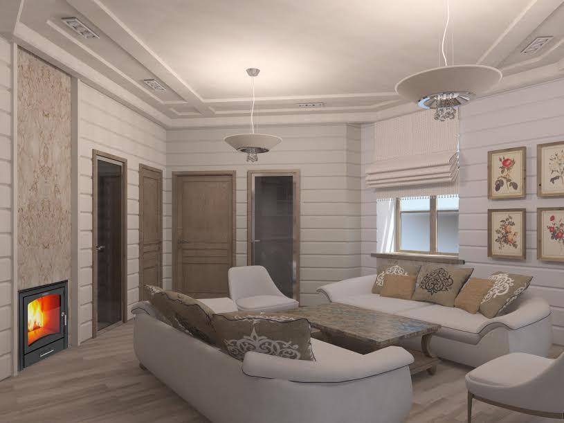 красивая комната отдыха в сауне